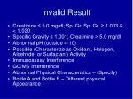 invalid result