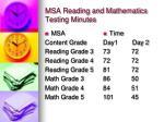 msa reading and mathematics testing minutes
