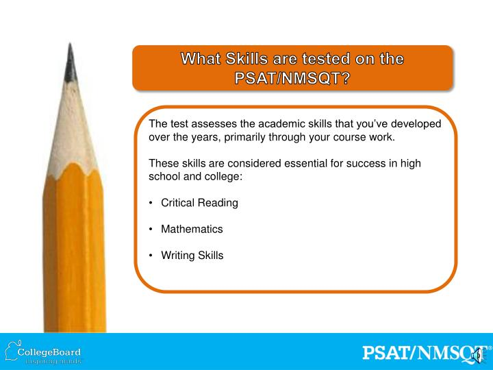 What Skills are tested on the PSAT/NMSQT?