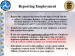 reporting employment