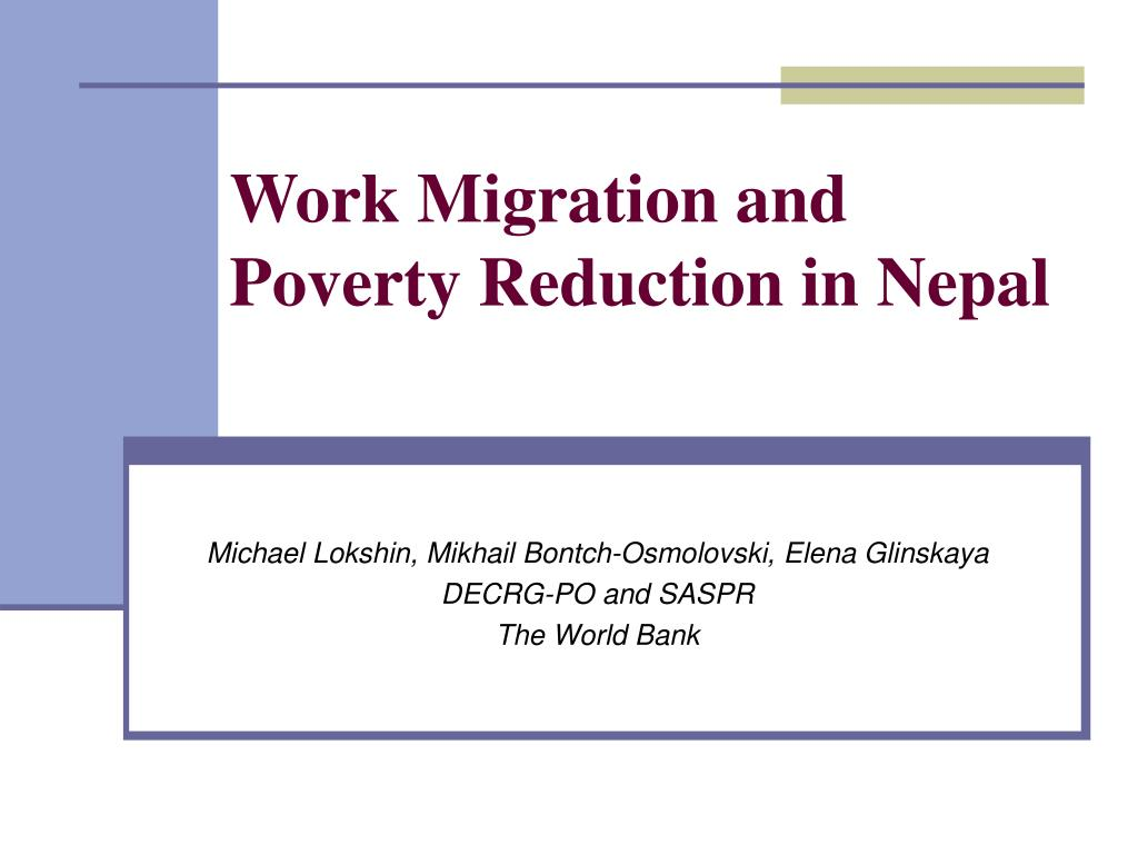 work migration and poverty reduction in nepal l.