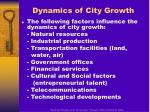 dynamics of city growth