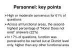 personnel key points