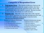 categories of respondent error