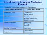 uses of surveys in applied marketing research
