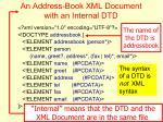an address book xml document with an internal dtd