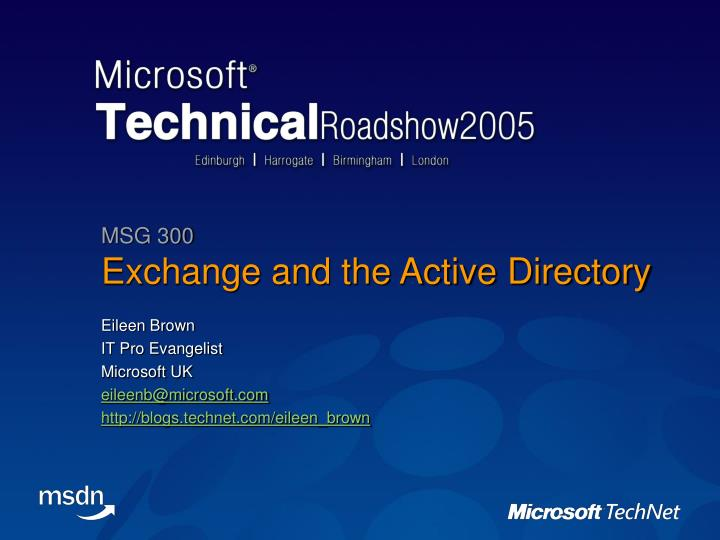 exchange and the active directory n.