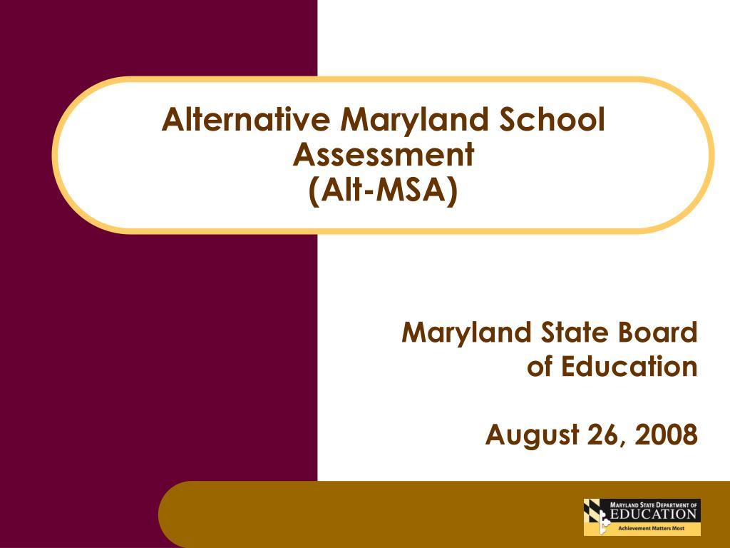 alternative maryland school assessment alt msa l.