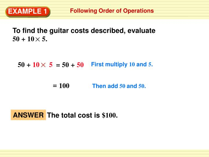 To find the guitar costs described, evaluate
