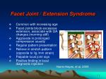 facet joint extension syndrome