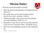 mission duties
