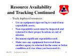 resource availability and tracking continued