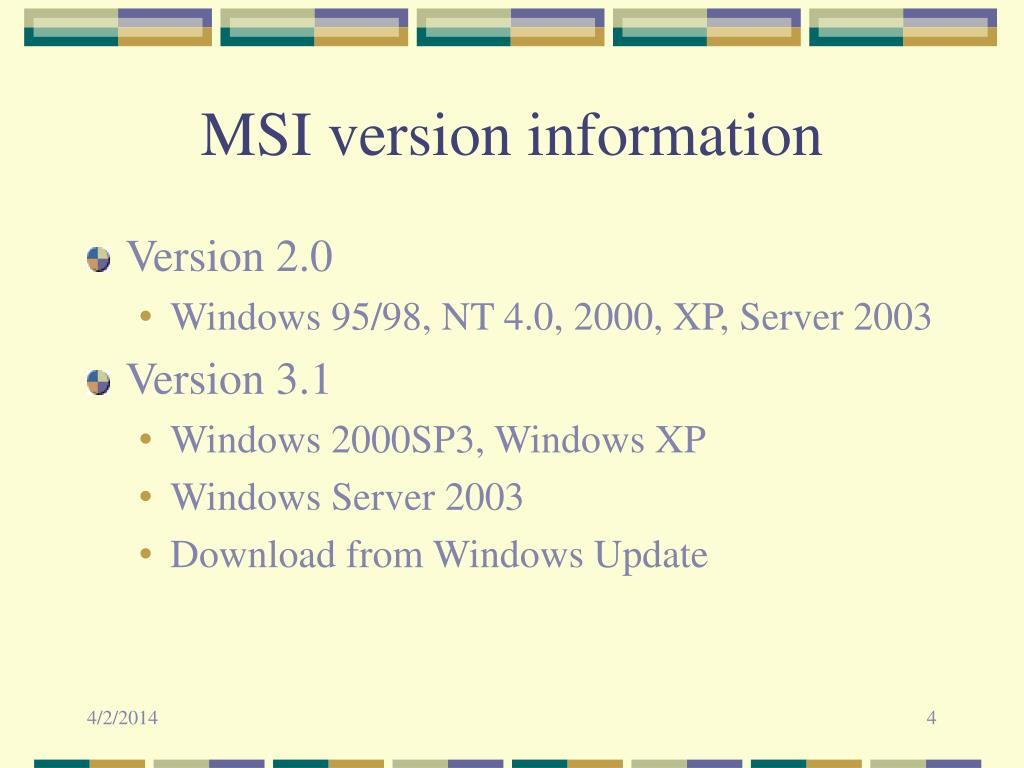 MSI version information