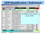 sdp identification enlistment