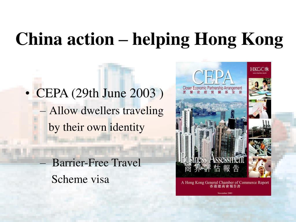 China action – helping Hong Kong