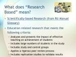 what does research based mean