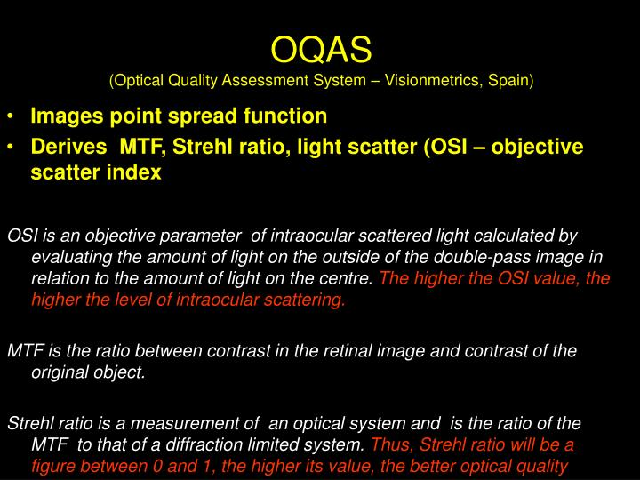 Oqas optical quality assessment system visionmetrics spain