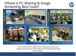 where is pc sharing image streaming best used