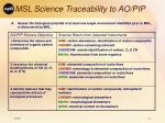 msl science traceability to ao pip