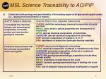 msl science traceability to ao pip36