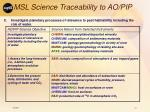 msl science traceability to ao pip37