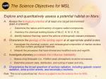 the science objectives for msl