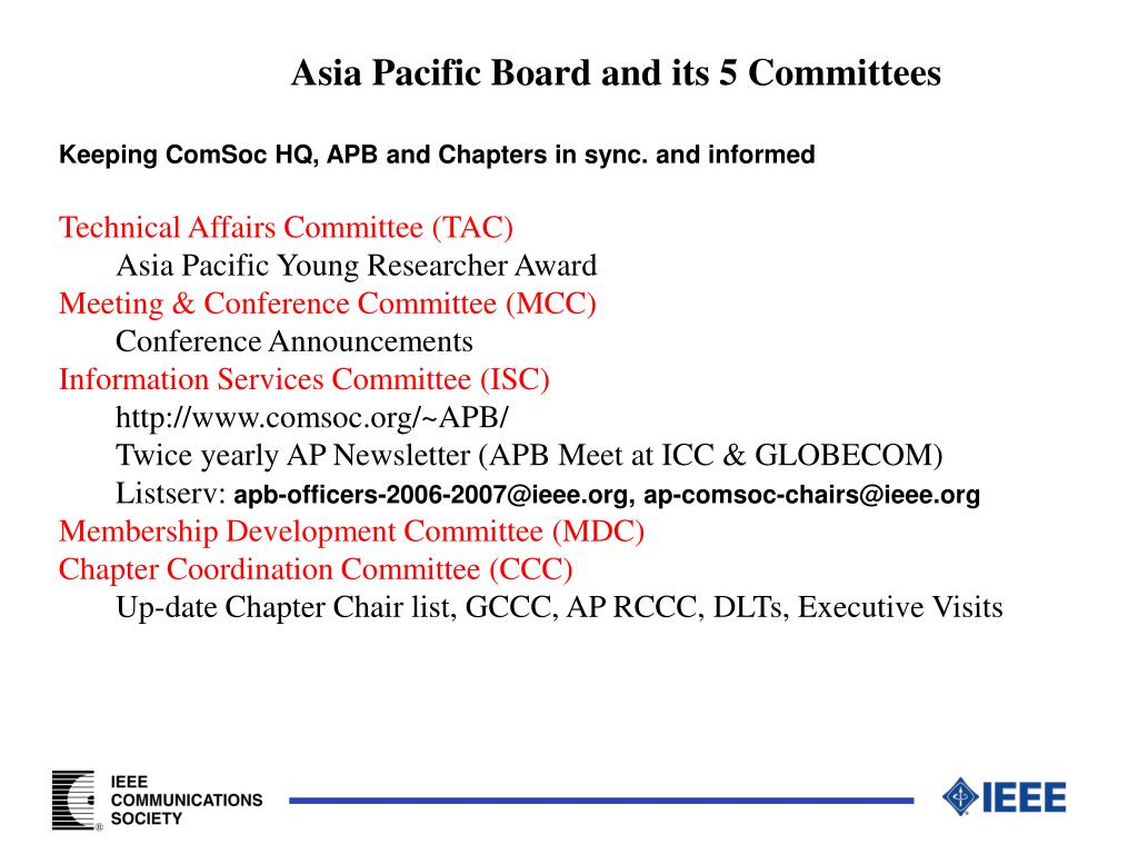 Asia Pacific Board and its 5 Committees