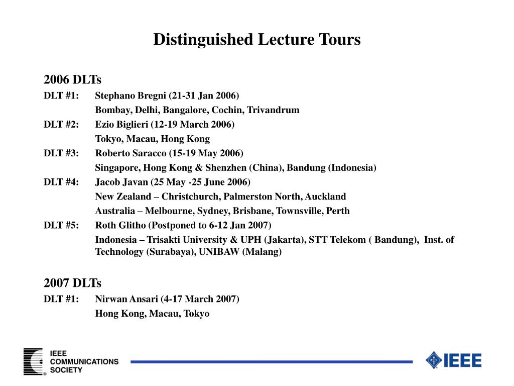 Distinguished Lecture Tours