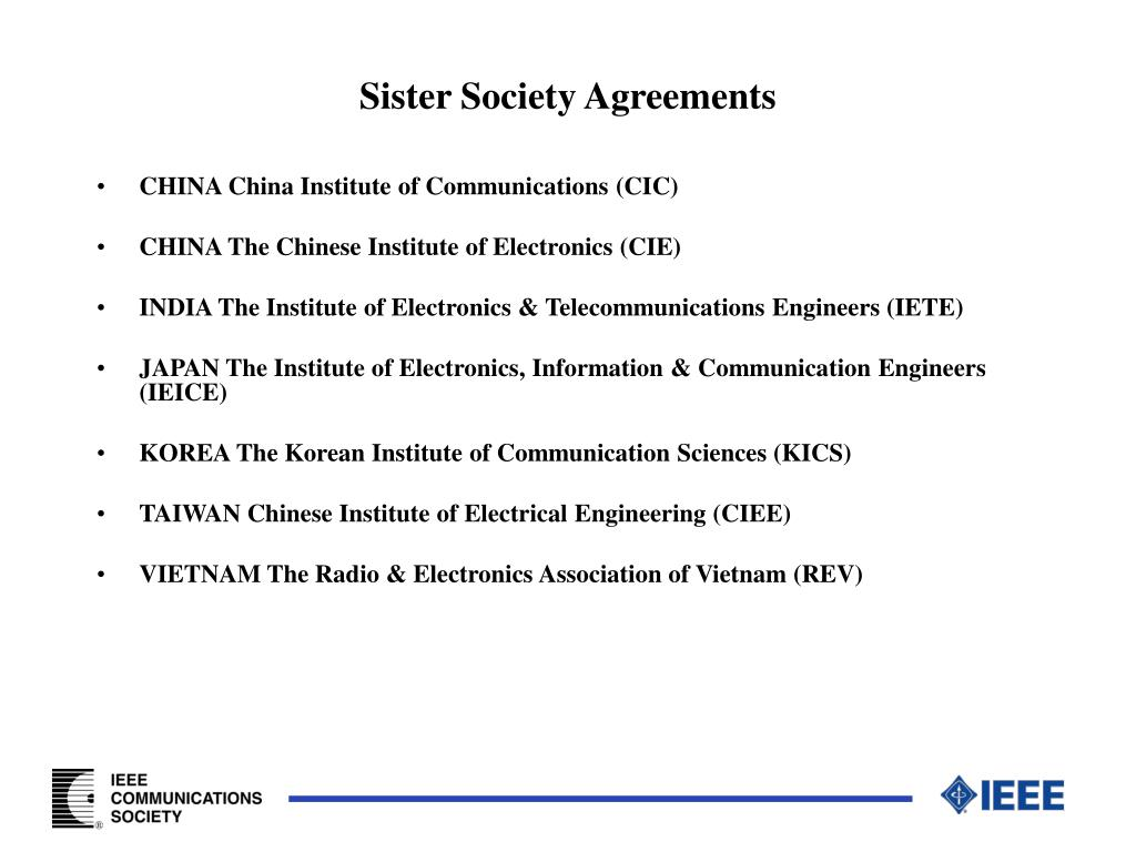 Sister Society Agreements
