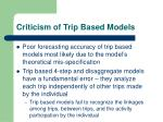 criticism of trip based models