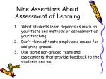 nine assertions about assessment of learning