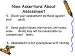 nine assertions about assessment