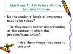 questions to ask before writing a learning outcome