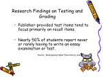 research findings on testing and grading73