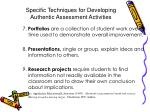 specific techniques for developing authentic assessment activities86