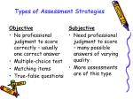 types of assessment strategies