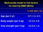 multivariate model of risk factors for total hip bmd mros