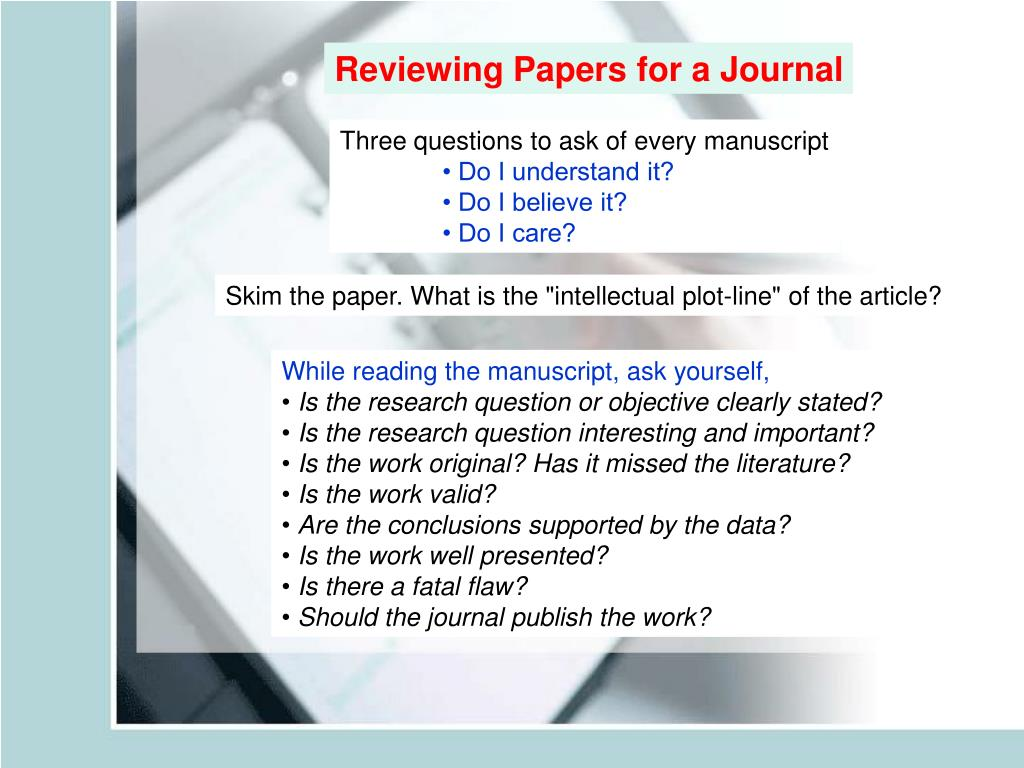 Reviewing Papers for a Journal