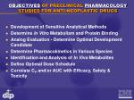 objectives of preclinical pharmacology studies for anti neoplastic drugs