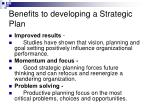 benefits to developing a strategic plan