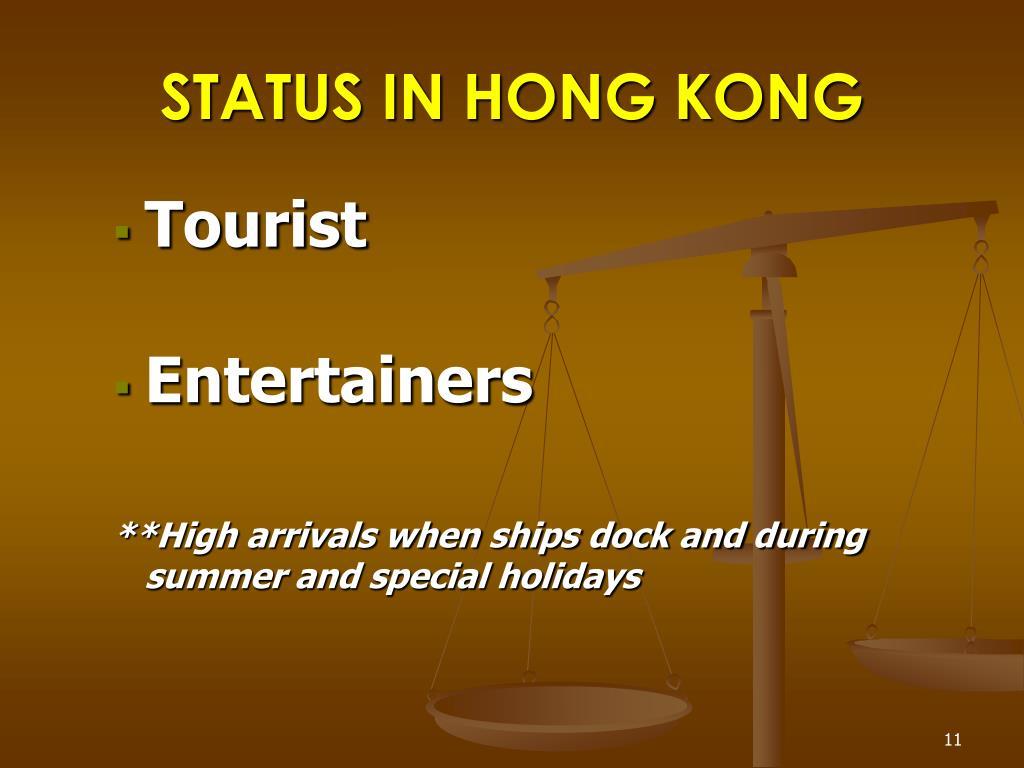 STATUS IN HONG KONG