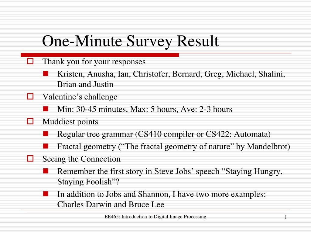 one minute survey result l.