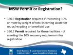 msw permit or registration