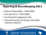 reporting recordkeeping 328 5