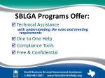 sblga programs offer
