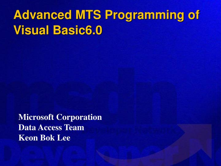 advanced mts programming of visual basic6 0 n.
