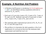 example a nutrition aid problem