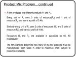product mix problem continued