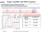 trigger capability with mtd acceptance