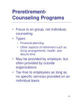 preretirement counseling programs